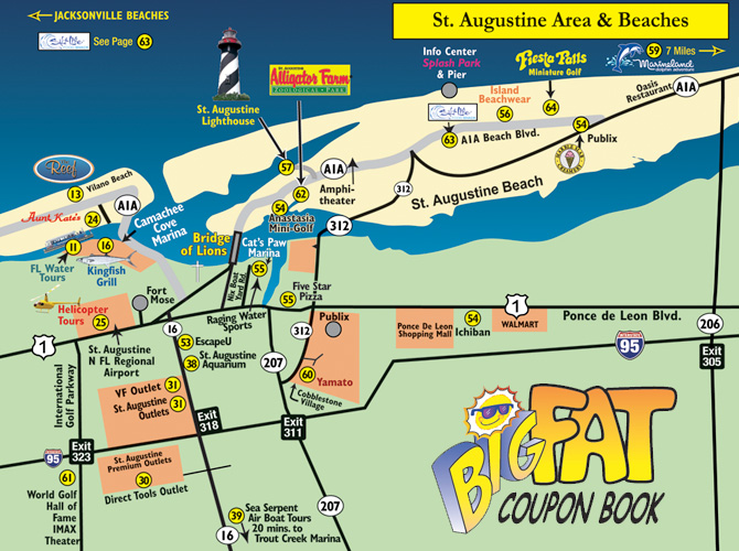 St Augustine Beaches Map 2019 The Big Fat Coupon Book