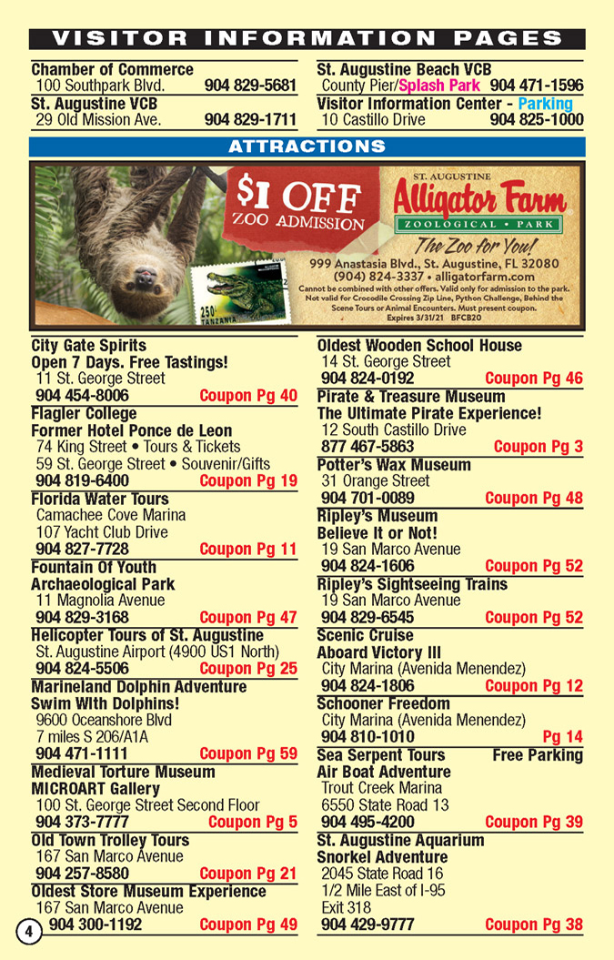 St augustine discount coupons