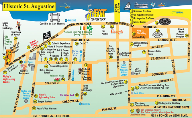 Map Of St Augustine Historic St. Augustine Map 2019   The Big Fat Coupon Book